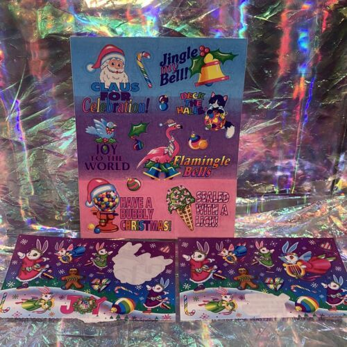 Vintage Lisa Frank  Holiday Sticker Sheet & Incomp. Mods CHRISTMAS! FLAMINGLE!