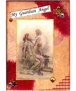 ACEO ATC Art Card Collage Print Women Ladies Girl Guardian Angel Inspira... - $2.75