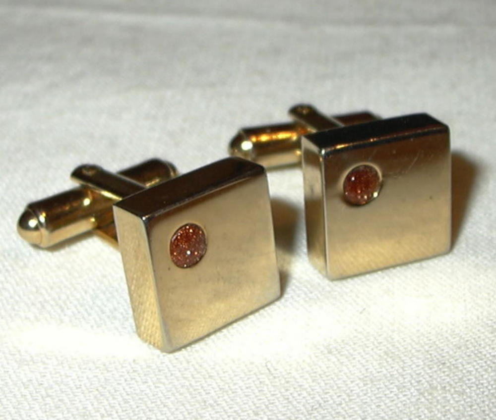 jc57 Cubist Dice Brown Gold Tone Stone Cufflinks Cuff Links