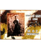ACEO ATC Art Collage Print Women Ladies When Baby Born So Is Grandmother... - $2.75