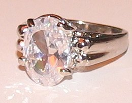 Solitaire Engagement or Dinner Ring Size 8 Sparkling Cubic Zirconium New