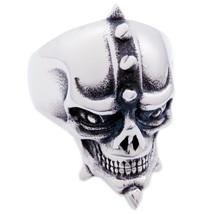 Stainless Steel Spiky Horns Skull Men Biker Ring US Size 10 - $12.99