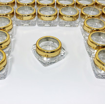 25 Cosmetic Jars Beauty Lip Balm Containers Gold Trim Acrylic Lid 10 Gra... - $34.95
