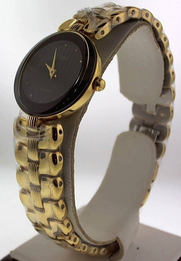 Primary image for GENUINE WOMEN'S RADO FLORENCE R41766163 GOLD TONE BLACK TAPESTRY DIAL WATCH