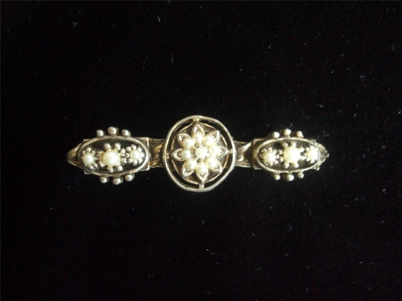 "Primary image for Vintage Brooch Pin Faux Pearls on Gold Tone Metal 2"" long"