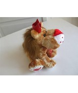"Stuffed Animal Plush King Lion Red Heart on Paws Nose Crown Bow  7"" tall - $10.99"