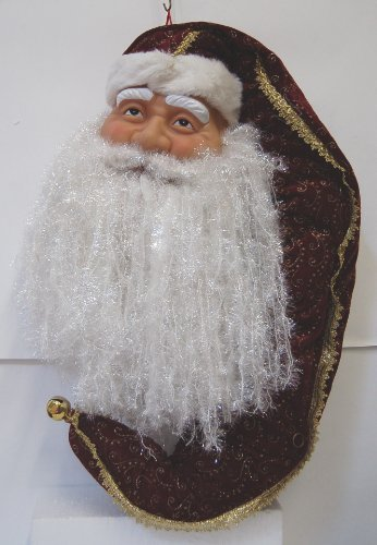 Sterling 382538 Hanging 60 Inch Santa Head Burgundy Gold Shimmering White Beard