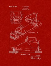 Ski Binding Patent Print - Burgundy Red - $7.95+