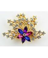 Gold, Blue, Purple, and Pink Cubic Zirconia Rhinestone Flower Brooch - $12.38