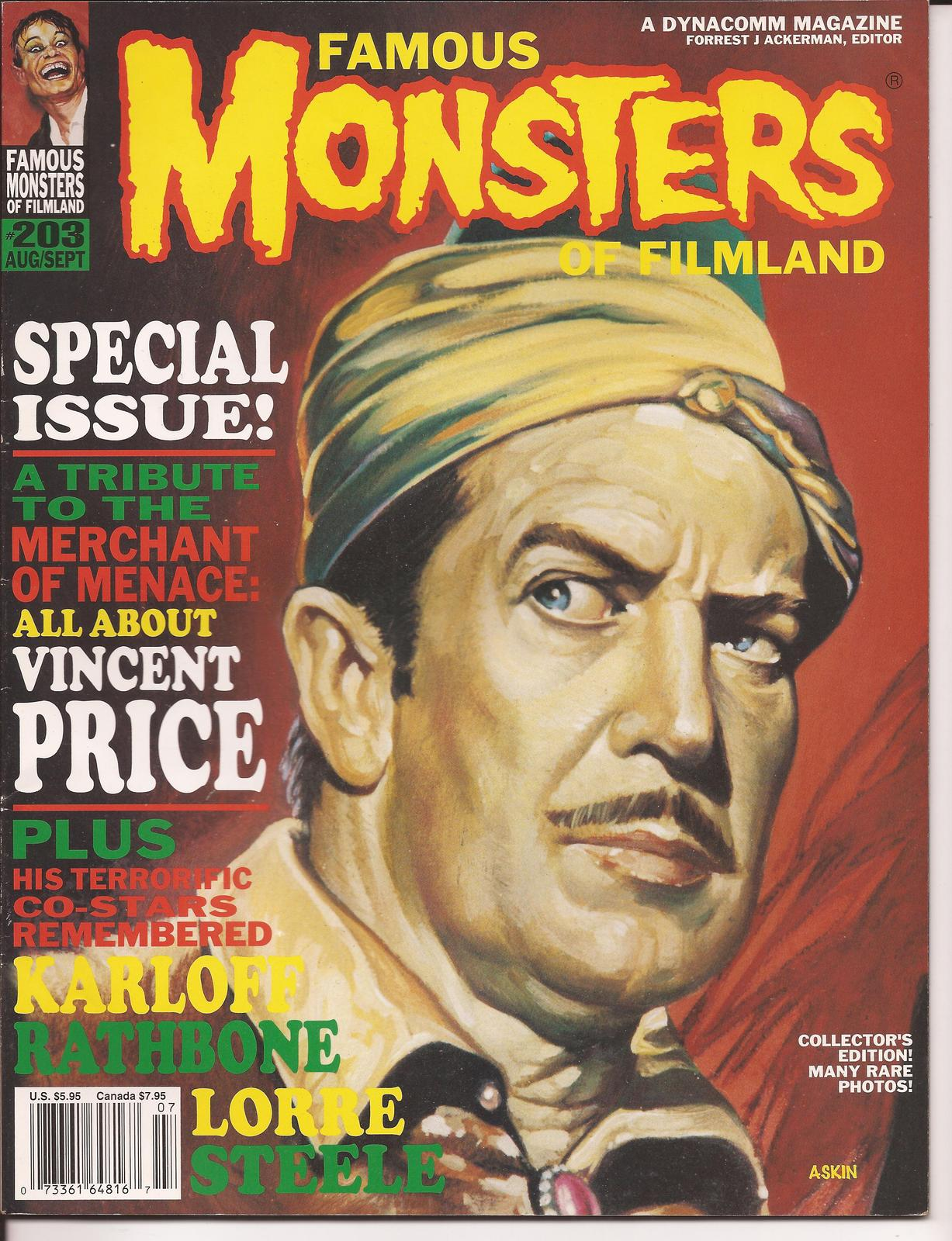 Primary image for Famous Monsters Of Filmland #203 Vincent Price Karloff Rathbone Lorre Steele