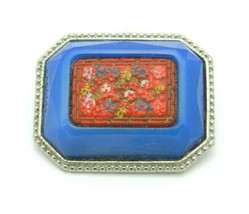 Enamel Inlay Cinnabar Floral Flower Blue Art Glass Silver Tone VTG Pin B... - $23.76