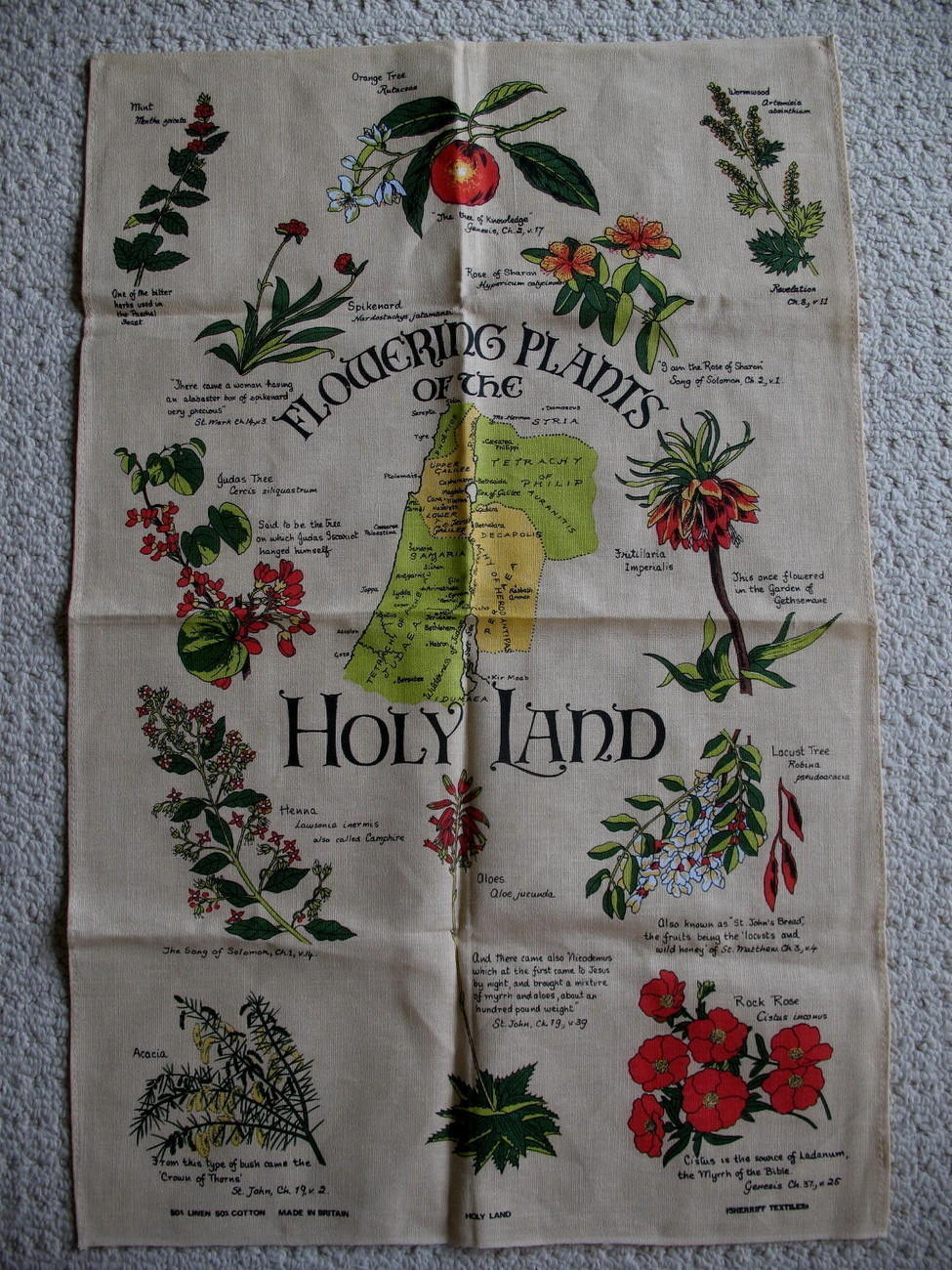 Holy Land Flowers Plants Linen Cotton Tea Towel Souvenir Collector Dish Towel