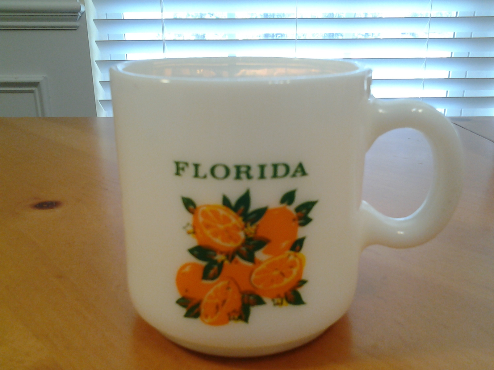 "Primary image for Florida Mug, White Milk Glass with Oranges, 3 1/8"" Tall & 3 1/8"" Diam,Vintage VG"