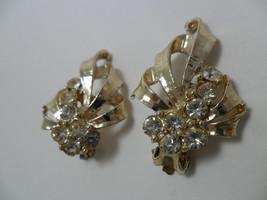 Vintage Earrings Clear GLASS Rhinestones Set in Ribbons of Gold Tone Met... - $9.85