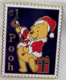 Pooh postage stamp pin front