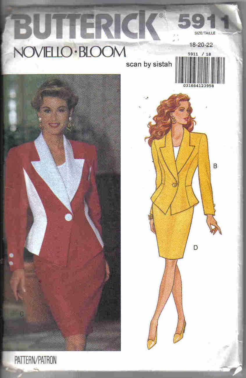 Butterick 5911 Pattern 18 20 22 Skirt Jacket suit misses career dressy outfit