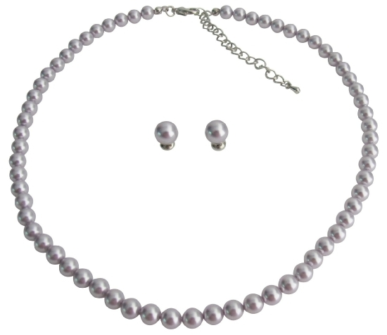Primary image for Style Is Simple w/ The Lavender Pearl Necklace & Stud Earrings Set