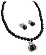 Black Pearl Pendant Jewelry Set Feature Both Brides Bridesmaid Set - $40.68