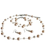 Peach Pearl & Crystal Swarovski Necklace Earrings Bracelet Set - $41.33