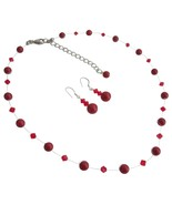 Red Pearls & Glistening Red Crystal Prom Or Sem... - $26.38