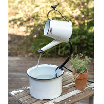 Tabletop electric Water Pail Fountain in Distressed White tin - SALE - $78.00