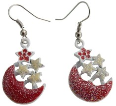 Glittering Red Half Moon Earrings with Stars Stunning Cute Earrings - $5.58