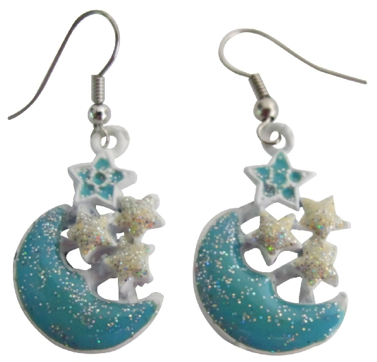 Primary image for Blue Moon Dangling Earrings Shinning Stars Cute Earrings