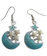 Blue Moon Dangling Earrings Shinning Stars Cute Earrings - $5.58