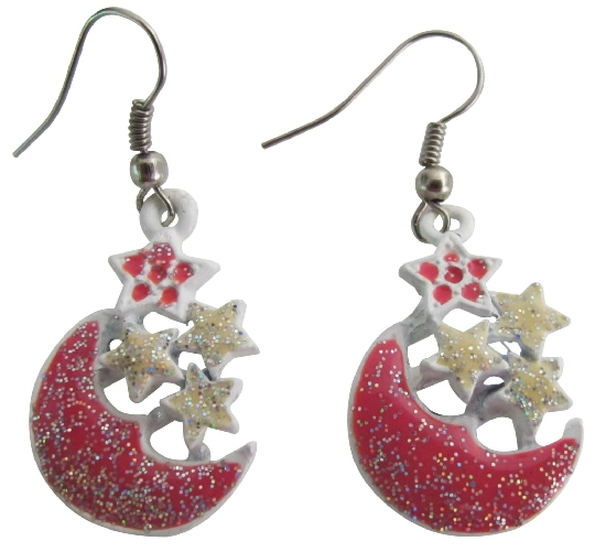Primary image for Fabulous Christmas Gift Glittering Stars & Moon Dangling Earrings