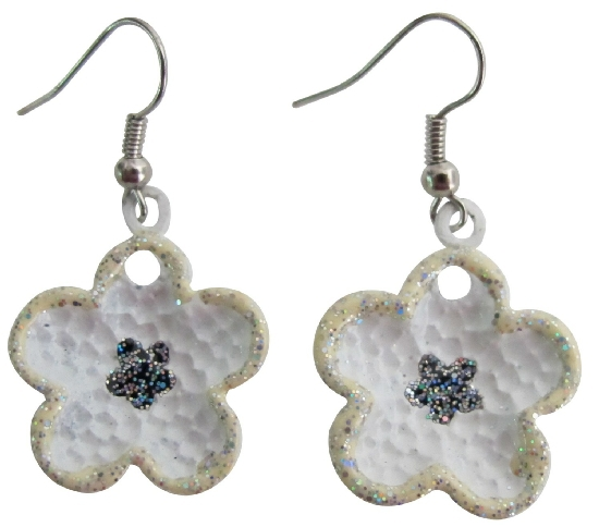 Primary image for Girls School Dance Earrings In Beautiful White Enamel Flower Earrings
