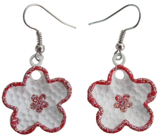 Primary image for Flower Girls Earrings Gift Beautiful Flower Red Earrings