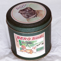 Nice Small Round Bristol Ware Metal Tin With Dogs - $3.95