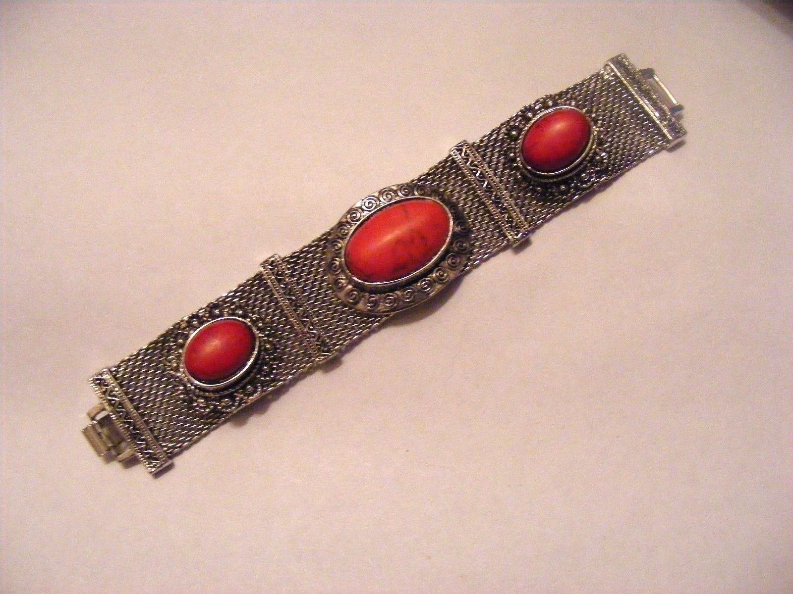 Primary image for ANTIQUED SILVER MESH BRACELET RED TURQUOISE CABOCHON INSETS