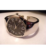 GENEVA BRIGHT SILVER WITH CHARCOAL FACE  SIDE HINGED CUFF BANGLE WATCH - $18.99