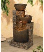 Mason Faux Stone Illuminated Indoor Outdoor Garden Floor Water Fountain ... - $295.50