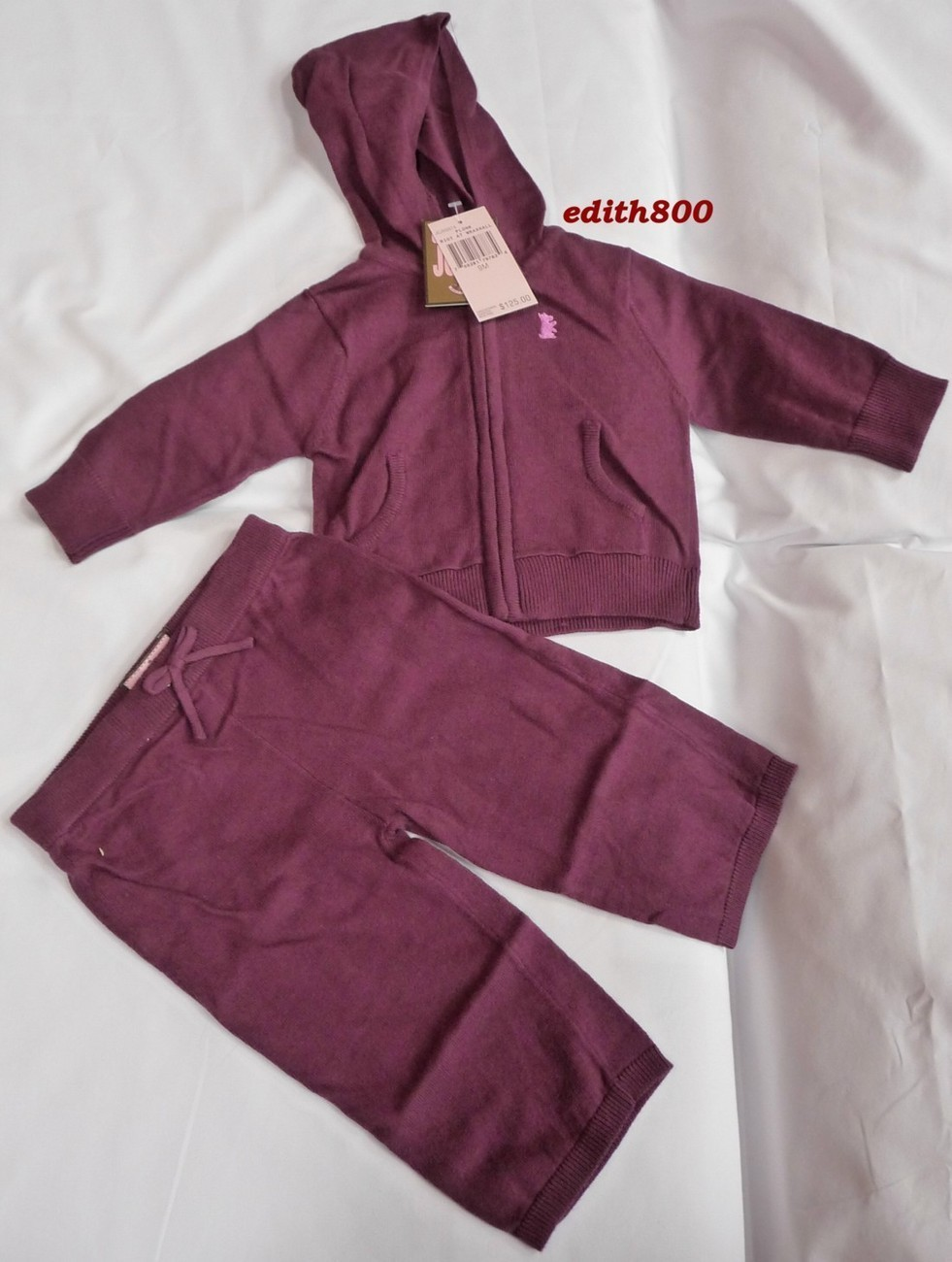 Juicy Couture Baby Girl Knit Track Suit 6-9 Months NWT