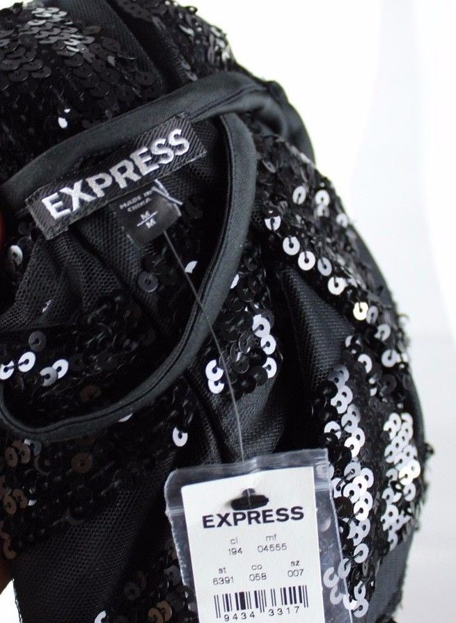 Express women's dress sequin sleeveless black party dress size M image 10