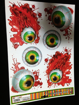 Haunted House Horror Prop CREEPY CLING Halloween Decoration-BLOODY EYES ... - $4.92