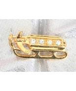 Avon Festive Crystal Rhinestone Golden Sled Christmas Pin - $12.82