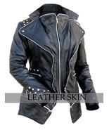 Black Punk Studded Shoulder Spike Spikes Studs Stud Women Genuine Leathe... - $189.99