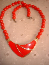Deco style red and gold necklace thumb200