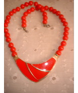 Vintage Jewelry Deco Style  Red Enamel Plastic Beaded Neckla - $12.00