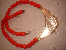Deco style red and gold necklace back thumb200