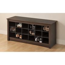 18 Hole Shoe Holder Storage Cubby Flat Top Espresso Bench Seat Bedroom Organizer - $191.00