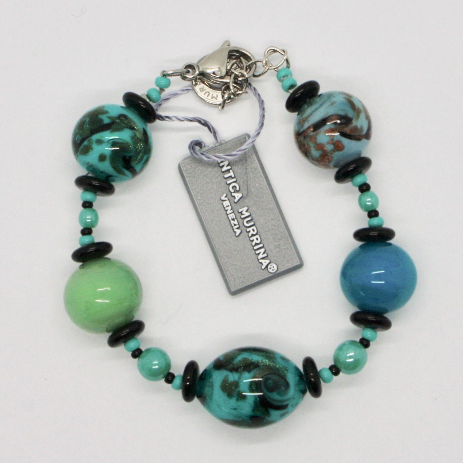 BRACELET ANTICA MURRINA VENEZIA WITH MURANO GLASS BLACK AND TURQUOISE BR801A59