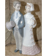 MINT LLADRO 4808 WEDDING BRIDE GROOM  FIGURINE RETIRED CAKE TOPPER - $118.75