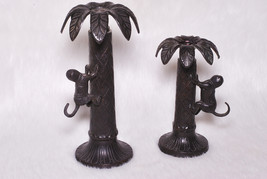 Vintage Collectible Bombay 2 Candle Holders Palm Trees Monkey Decor Set - $45.00