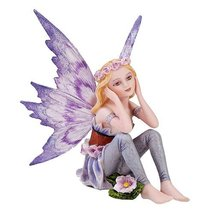 Small Playful Purple Flower Fairy Figurine Made of Polyresin - $18.74