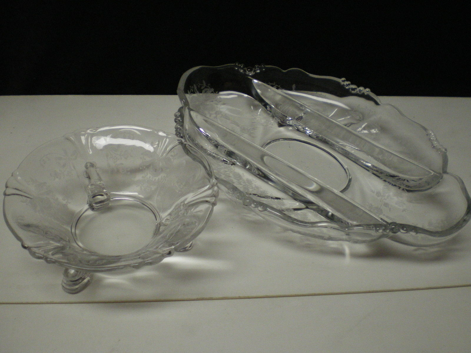 Primary image for 2 HEISEY ORCHID SERVING PIECES~~one dolphin footed