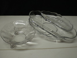 2 HEISEY ORCHID SERVING PIECES~~one dolphin footed - $36.95